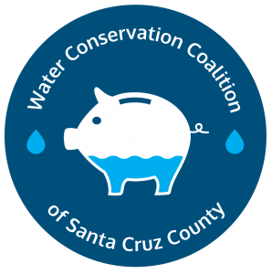 Piggy filled with water Water Conservation Coalition logo